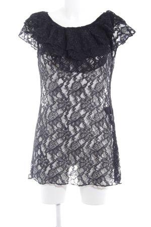 Comma Longshirt schwarz Spitzen-Optik