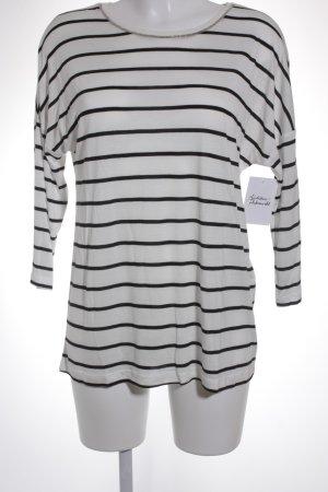 Comma Longshirt weiß-schwarz Streifenmuster Casual-Look