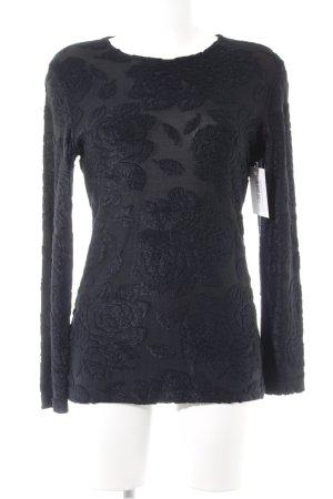 Comma Longsleeve schwarz-dunkelblau Schimmer-Optik