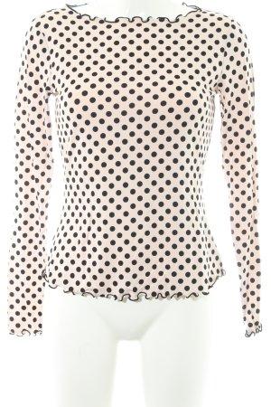 Comma Longsleeve schwarz-rosé Punktemuster 60ies-Stil