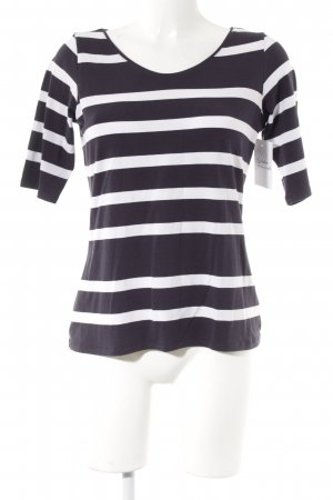 Comma Longsleeve weiß-dunkelblau Streifenmuster Casual-Look
