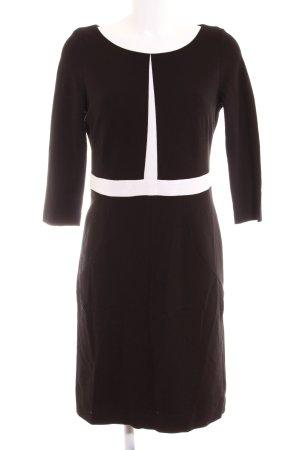 Comma Midi-jurk zwart-wit abstract patroon klassieke stijl