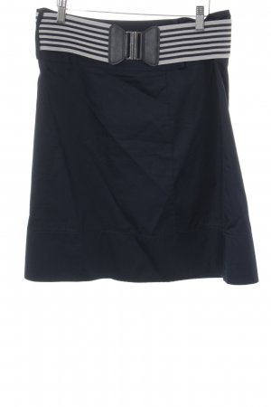 Comma Minirock weiß-dunkelblau Streifenmuster Casual-Look