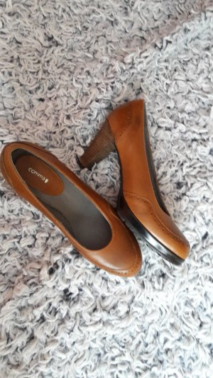 Comma Zapatos de tacón con barra en T marrón-coñac
