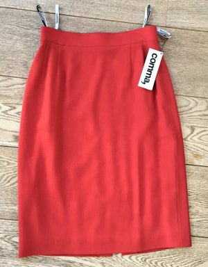 * COMMA * NEU ! ROCK MIDI 100 % SCHURWOLLE gedecktes hellrot Business  36 (34)