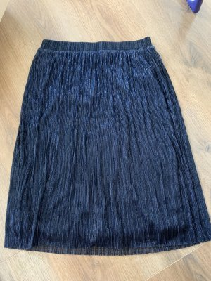 Comma Pleated Skirt dark blue-silver-colored