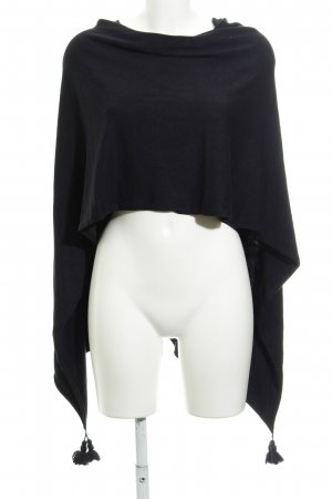 Comma Poncho donkerblauw Webpatroon casual uitstraling