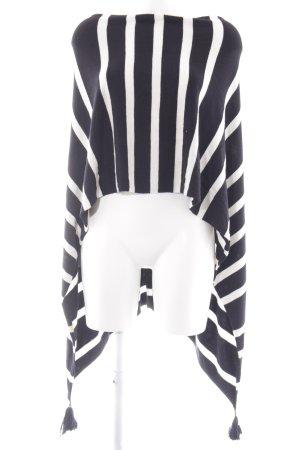Comma Poncho noir-blanc motif rayé style décontracté