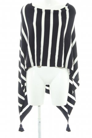 Comma Poncho white-dark blue striped pattern casual look