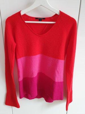 Comma Pullover aus Wolle und Kaschmir Rot Pink Gestreift