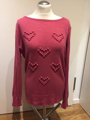 Comma: Pullover mit Herzen Pink Himbeerrot Gr. 36