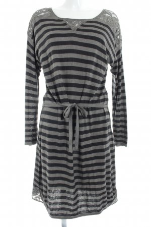Comma Sweater Dress grey brown-taupe striped pattern casual look