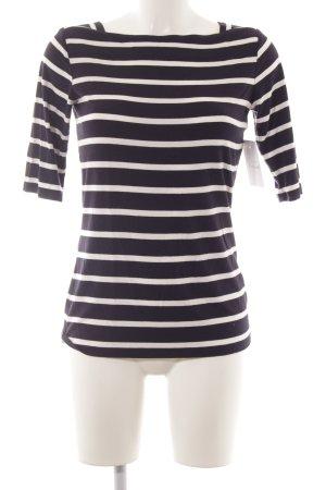 Comma Gestreept shirt donkerblauw-wit gestreept patroon marine uitstraling