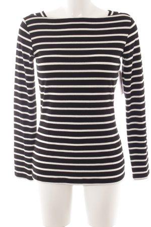 Comma Gestreept shirt zwart-wit gestreept patroon marine uitstraling