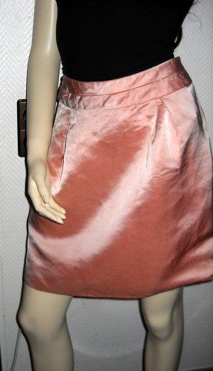 COMMA Rock breiter Bund knielang rosa Leinen Viskose Glanz optik 36 38 S M GUT