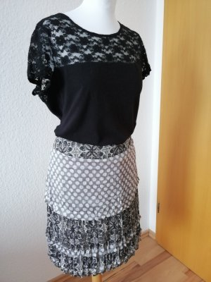 Comma Broomstick Skirt white-black