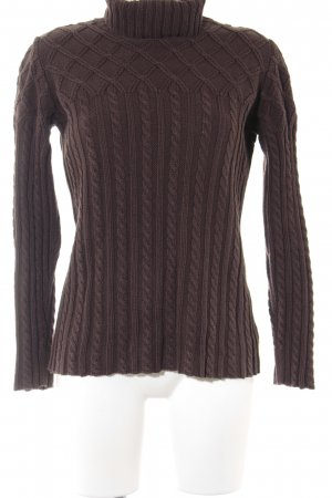 Comma Turtleneck Sweater brown weave pattern casual look