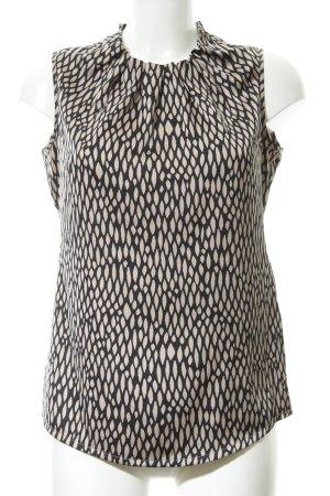 Comma Blouse à volants noir-crème motif léopard imprimé animal