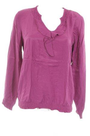 Comma Ruche blouse violet simpele stijl