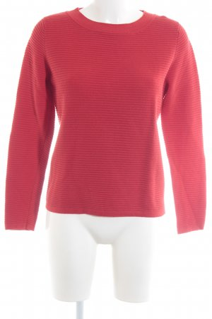 Comma Crewneck Sweater red quilting pattern casual look