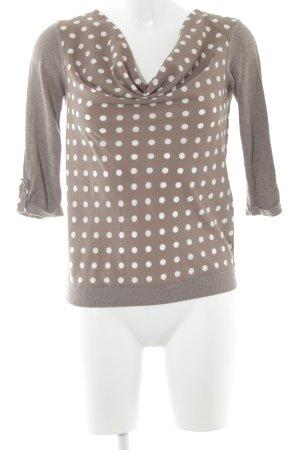 Comma Schlupf-Bluse beige-weiß Punktemuster schlichter Stil