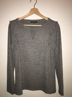 Comma V-hals shirt lichtgrijs-grijs