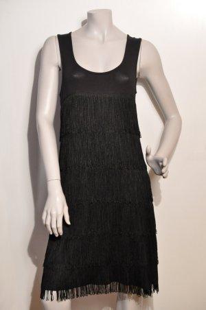 Comma Robe à franges noir viscose