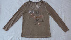 Comma Shirt Langarm taupe braun mit Pailletten oil dye wunderschön Größe 38 neu mit Etikett