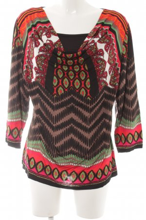 Comma Shirt Tunic neon red mixed pattern Aztec print