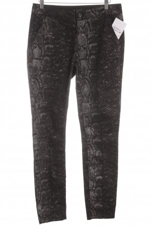 Comma Slim Jeans schwarz-silberfarben Animalmuster Animal-Look