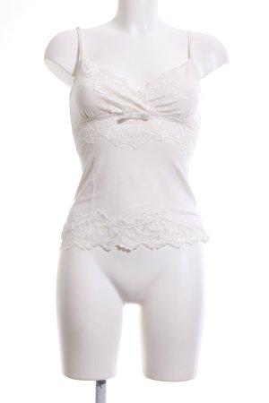Comma Top de encaje blanco elegante