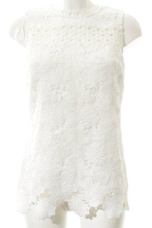 Comma Top de encaje blanco estampado floral Apariencia de encaje