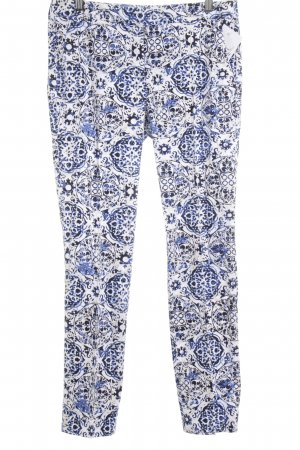 Comma Stoffhose blau-weiß florales Muster extravaganter Stil