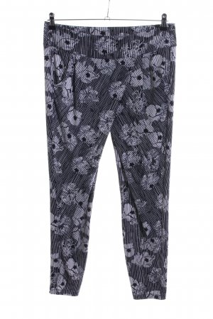 Comma Stretch broek zwart-lichtgrijs bloemenprint casual uitstraling