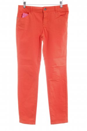 Comma Stretch Trousers neon orange casual look