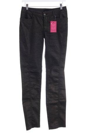 Comma Pantalone elasticizzato nero-oro motivo animale impronta animale