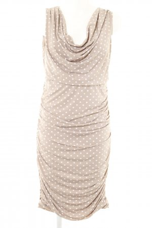Comma Stretchkleid beige-weiß Punktemuster Business-Look