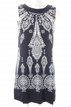 Comma Stretch Dress dark blue-natural white flower pattern classic style