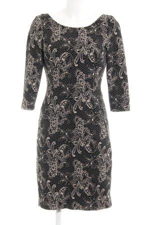 Comma Vestido elástico beige claro-negro estampado con diseño abstracto