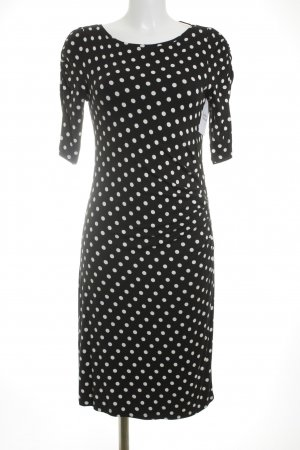 Comma Stretchkleid schwarz-weiß Punktemuster Romantik-Look