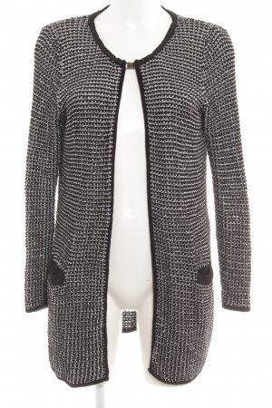 Comma Strick Cardigan schwarz-weiß Karomuster Casual-Look