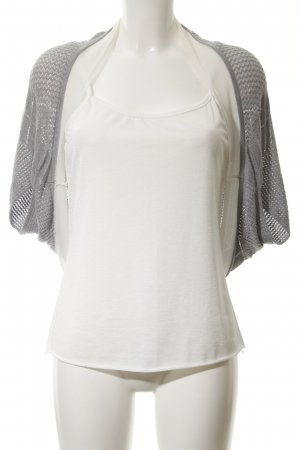 Comma Knitted Bolero light grey-natural white loosely knitted pattern