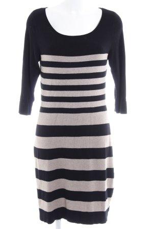 Comma Abito di maglia nero-beige motivo a righe stile casual