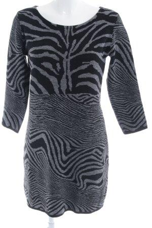 Comma Strickkleid schwarz-grau Kunstmuster Elegant
