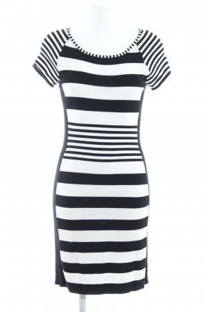 Comma Abito di maglia nero-bianco motivo a righe stile casual