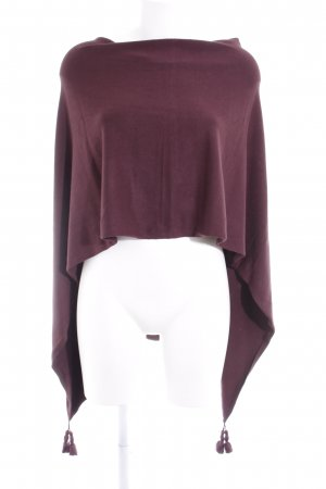 Comma Strickponcho brombeerrot Casual-Look
