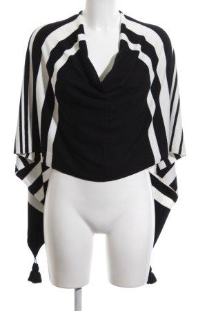 Comma Strickponcho schwarz-weiß Streifenmuster Casual-Look