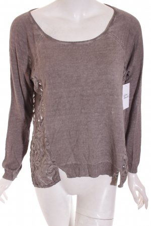 Comma Strickpullover graubraun Casual-Look