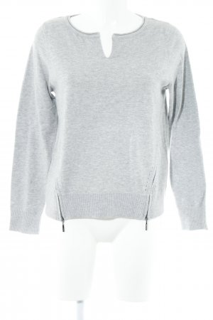 Comma Strickpullover hellgrau Casual-Look