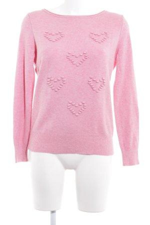 Comma Gebreide trui roze Herzmuster casual uitstraling